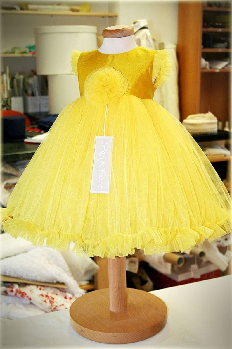 06644f6d Girl Yellow Tutu Dress Happy Flower Girl Yellow Tutu Dress | Etsy