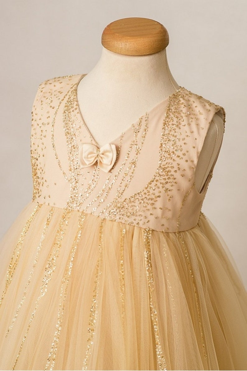 01cb097c Evening Stardust Dress Christmas Gold Tutu Dress Flower | Etsy