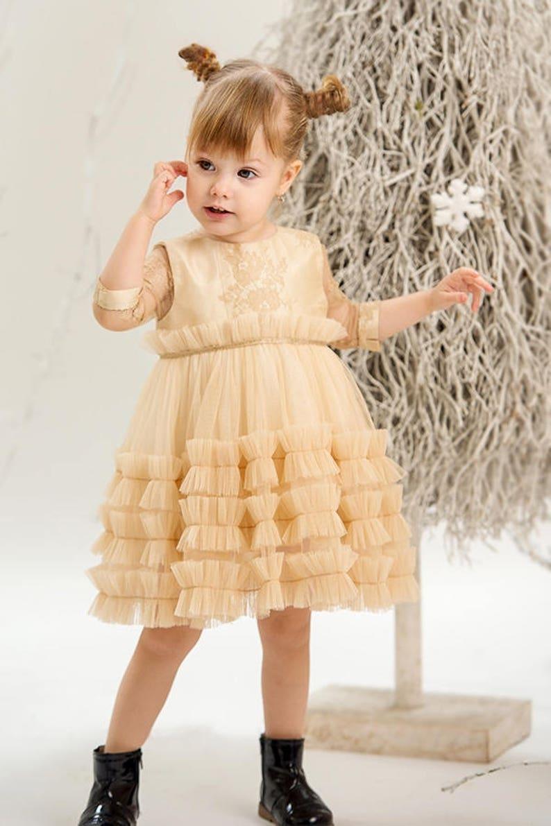 958dcb61 Girl Gold Tutu Dress Golden Flowers Tutu Flower Girl Dress | Etsy