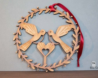 Turtle doves - Hanging wreath decoration - love birds wreath - turtle dove heart