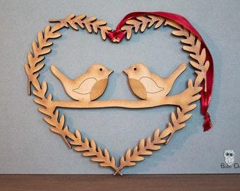 Robins heart wreath - Hanging wreath decoration- robin wreath