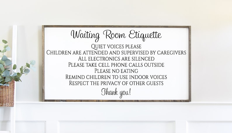 Waiting Room Etiquette Business Signage No Cell Phones Sign Waiting Room Decor Doctors Office Waiting Room Sign Quiet Voices