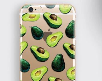 Avocado iPhone XR Case -  Clear Silicone iPhone 11 Pro Max Cover, Fruit Samsung Galaxy Phone Cover