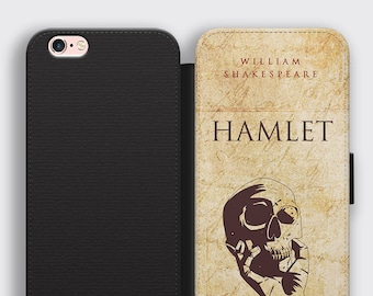 Hamlet Skull iPhone Wallet Case Shakespeare Gifts Samsung S8 Leather Case - English Literature iPhone 7 Plus Case Hamlet Book Cover Case