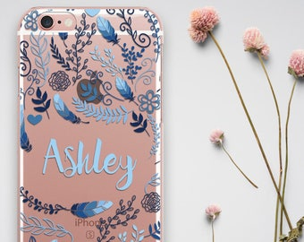 Personalized Samsung S9 Plus Case Birthday Gift iPhone 8 Case, Custom iPhone XS Max Case Floral iPhone 6 Case Gift for Her Clear Phone Cover