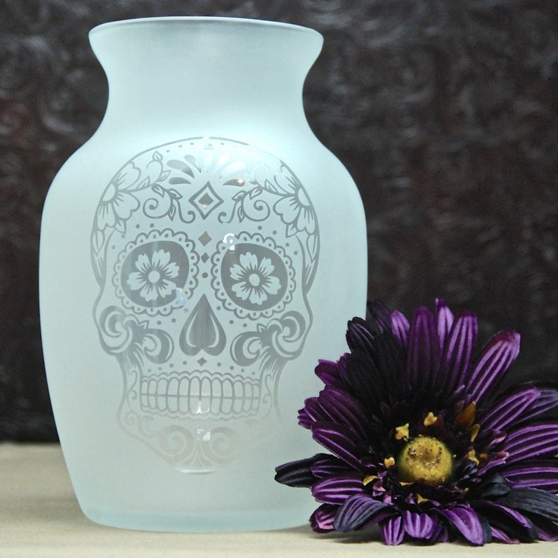 Sugar Skull Vase  Glass Etched Vase  Day of the Dead  image 0