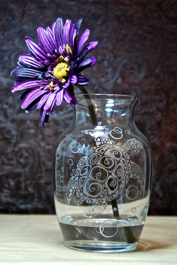 Sea Turtle Vase Glass Etched Vase Etched Glass Gifts Etsy