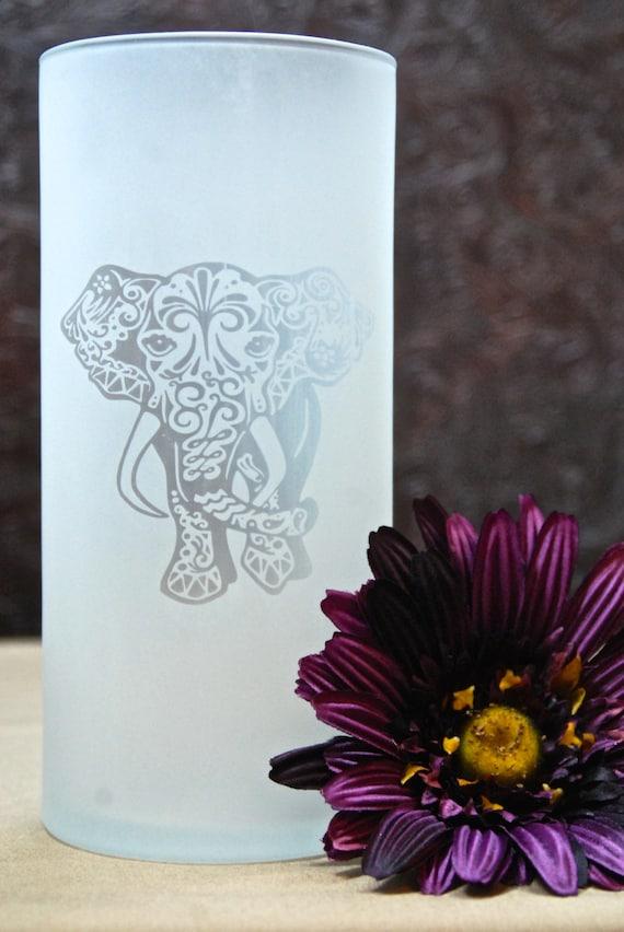 Tribal Elephant Vase Glass Etched Vase Etched Glass Gifts Etsy