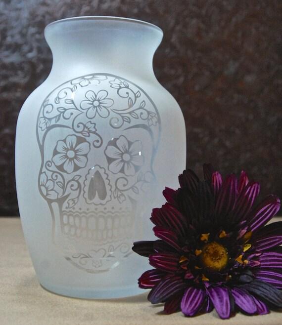 Sugar Skull Vase Glass Etched Vase Day Of The Dead Etsy