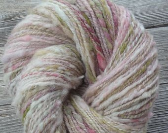 Hand Spun,Dyed Babydoll Southdown Cross Slub Yarn in a DK Weight