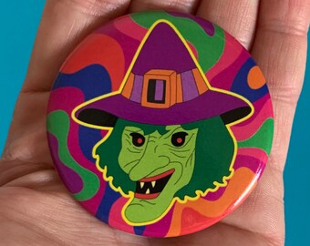 57mm XL Badge Psychedelic Witch Retro Halloween Vintage 60s 70s Style