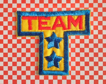 Kitsch Vintage 70s 80s T Sports Team Embroidered Sew On Patch - Retro Novelty Patch Children's
