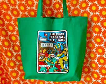 Vintage Original 70s American Football Pinball Transfer Large Green Cotton Shopper Shopping Bag