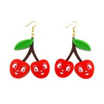Glitter Cherry Earrings - laser cut acrylic - Kitsch Vintage style Cherries Anthropomorphic