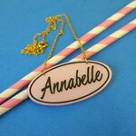 50s Diner Style Custom Name Necklace - laser cut acrylic - Personalised Necklace - Large