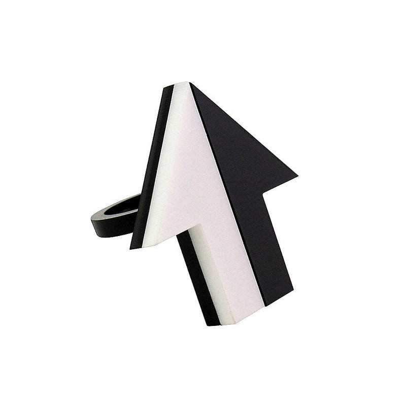 Mod Arrow Ring SALE Op Art 60s Ring Laser Cut Acrylic Black and White