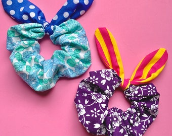 Retro 90s Style Scrunchie - Knotted Scrunchie - Bow Scrunchie - Vintage 60s 70s Fabric Scrunchie - Bunny Ear Scrunchie