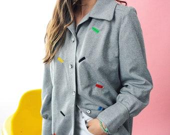 Vintage 70s Primary Color Shacket // MCM, Grey Button Up Top, Light Coat, Unisex Shirt, Size Medium Large