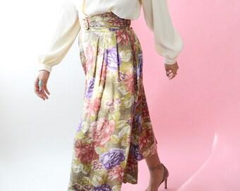 Vintage 90s Floral Skants // Palazzo Pants, High Waist Capris, Women Size Medium Large