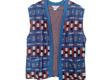 Vintage Sweater Vest // 70s, Boho Style, Unisex Size Medium / Large