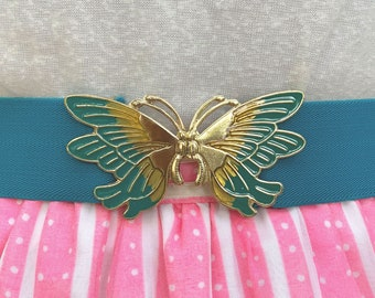 Vintage 80s 90s Butterfly Belt // Blue and Gold Stretchy Belt, 80s Prom