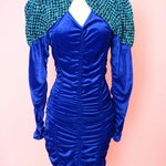 Vintage Blue Velvet 80s Prom Dress // Shoulder Pads, 1980s, Bodycon Dress, Women Size Medium