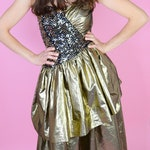 Vintage Gold 80s Prom Dress // Strapless, Gold Sequin Party Dress, Women Size Small