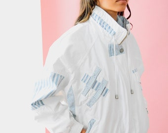 Vintage 90s White Jacket // 1990s Style, Blue Striped Coat, Unisex Outerwear