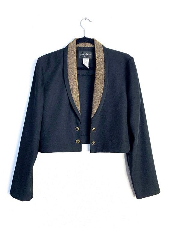 90s Cropped Blazer // Vintage Tuxedo Jacket, Black
