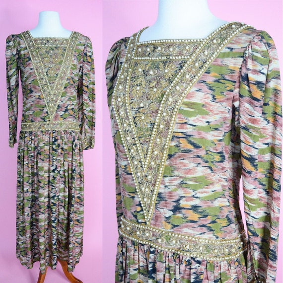 Vintage 30s 40s Beaded Gown // Green, Tan, Yellow