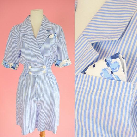 ac9cd4548e3 Vintage Joan Walters Romper    80s Shorts 90s Blue Stripes