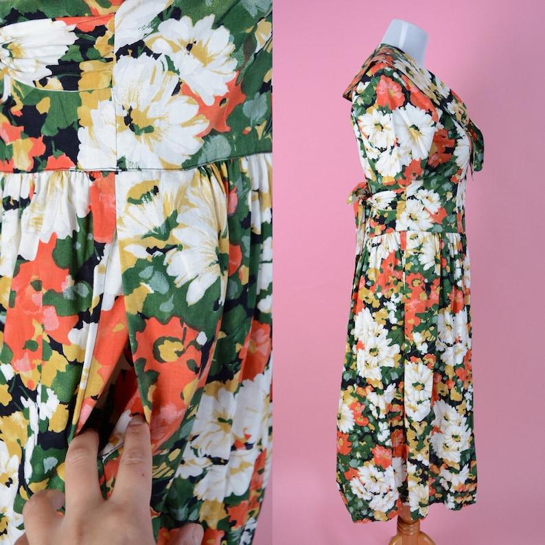 Vintage 90s Floral Cotton Daisy Kingdom Blossom Day Dress  Clueless 1990s Dress Woman/'s Size Medium