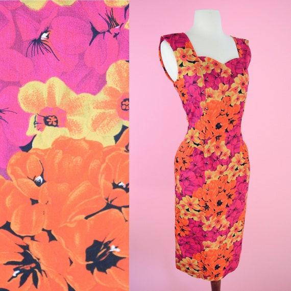 Vintage 90s Floral Dress // Summer, 1990s, Pink, O