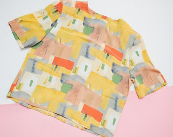 Vintage Abstract Watercolor Top // Boxy Tee Blouse, Size Medium