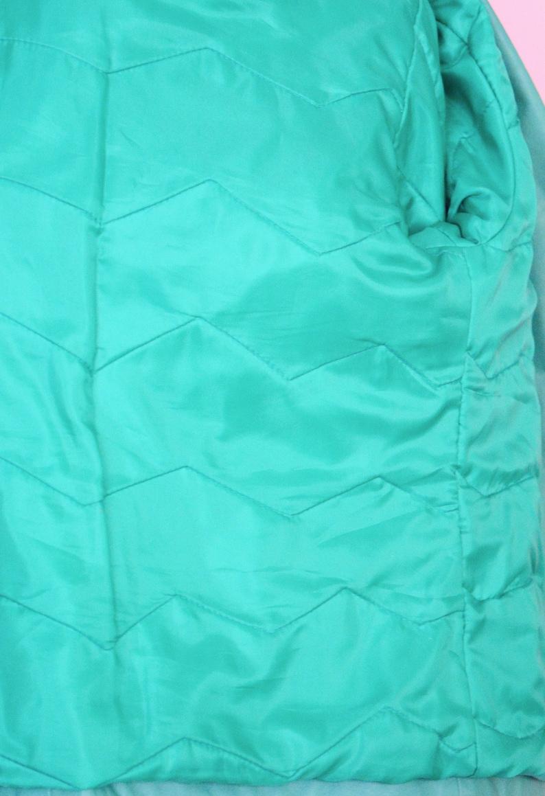 Vintage Coat Women Size Medium Vintage 80s Teal Green Leather Jacket  90s Outerwear