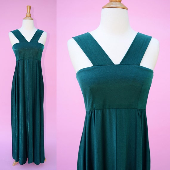 Hollywood Glamour 40s Vintage 70s Green Formal Gown //   Etsy