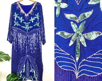 Vintage Silk & Sequin Flapper Dress // 80s, 90s Party Dress, Women Size Large