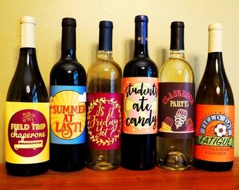 Wine Bottle Labels for teachers & SLPs - Digital Download
