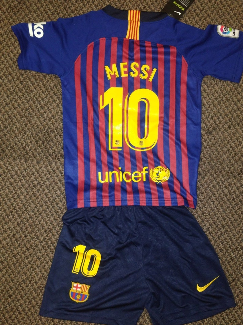 new style 81eec 456ec Messi Barcelona Home 2018-2019 Kids/Youth Football Soccer Jersey and Short  Kit