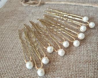 Set of small Pearl Wedding hair pin Pearl Bridal hair pin Pearl hair pin Pearl Wedding hair. 6mm pearls.