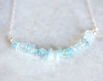 Aquamarine Necklace, Aquamarine Nugget Necklace, Aquamarine Silver Necklace, Aquamarine Bead Bar Necklace, Aquamarine Arc Necklace