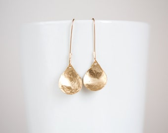 Brass Hammered Earrings, Gold Teardrop Earrings, Nu Gold Brass Dangle Earrings