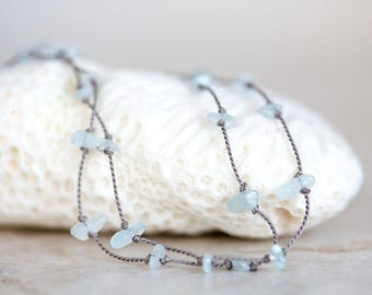 Aquamarine Necklace, Aquamarine Nugget Necklace, Silk Cord Necklace, Aquamarine Bracelet, Aquamarine and Silk Cord Knotted Long Necklace
