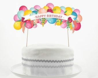 Cake Topper Set Decorations PRINTABLE DIY Happy