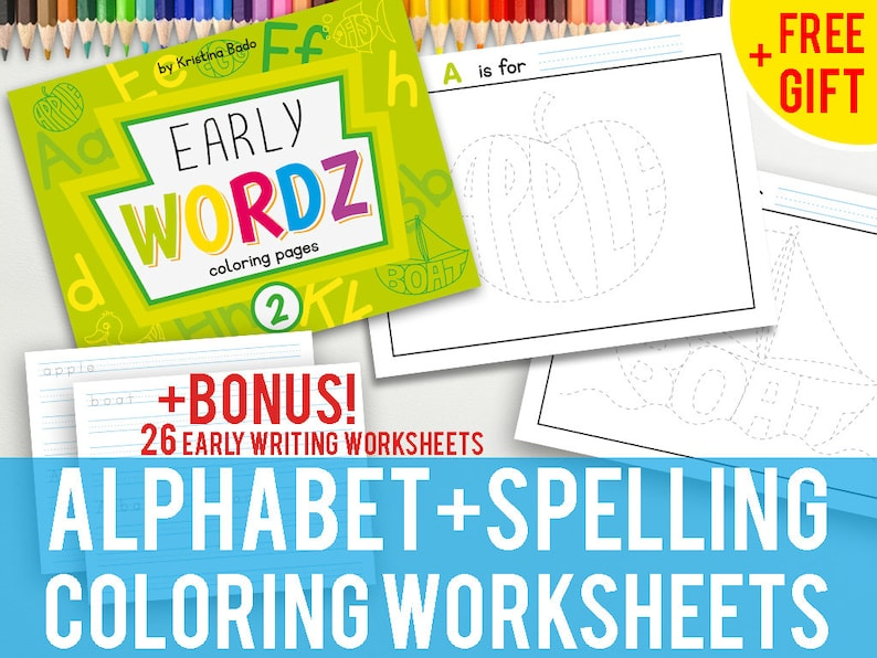 ABC- Printable Early Wordz Alphabet Coloring Pages Book with Bonus Writing  Worksheets- FREE GIFT- Level 2