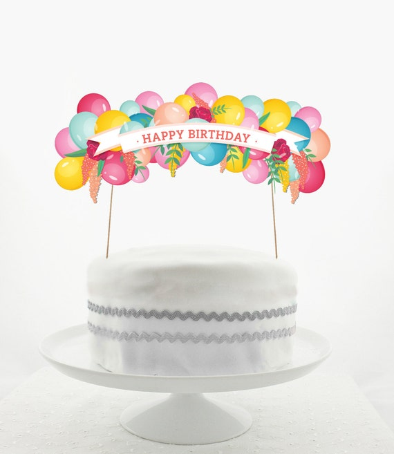 Cake Topper Set Decorations PRINTABLE DIY Happy