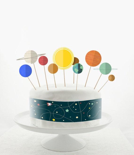 Cake Topper Set Cake Decorations Printable Diy Solar Etsy