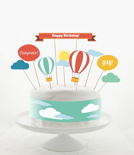 Cake Topper Set Decorations PRINTABLE DIY Hot Air