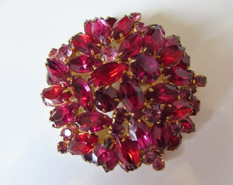 """Vintage Juliana Ruby Red & Magenta Faceted Stone Dome Brooch Pin 3"""""""