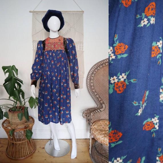 Vintage 60s 70s cotton and velvet Afghan folk dres
